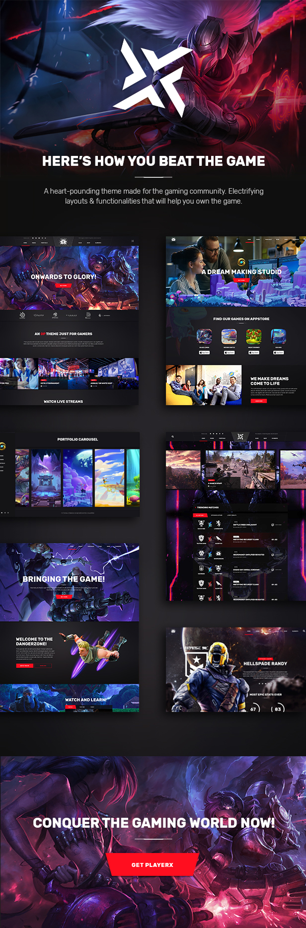PlayerX – A High-powered Theme for Gaming and eSports (Entertainment)